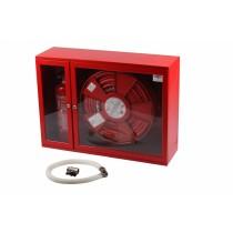 Hidrant interior complet echipat cu locas pentru stingator lateral 650x900x260mm D-25 PVC rosu