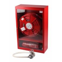 Hidrant interior complet echipat cu locas pentru stingator dedesubt 900x650x260mm D-25 PVC ROSU